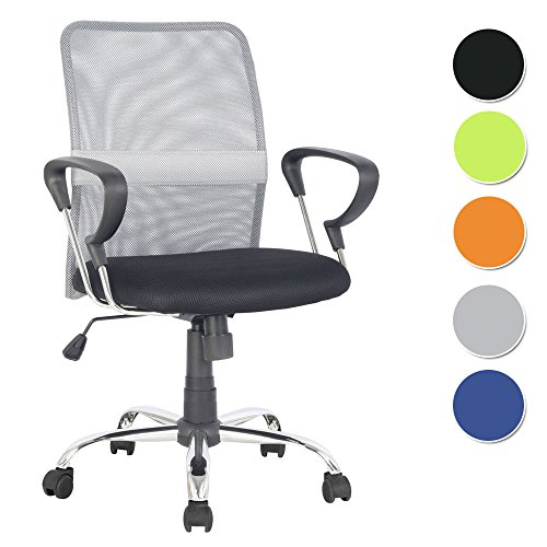 SixBros. Bürostuhl Schreibtischstuhl Drehstuhl Grau/Schwarz - H-8078F-2/2060