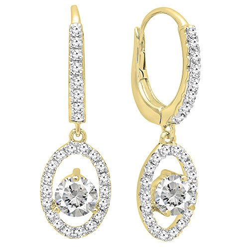 ion  -  14 Kt  Gelbgold Rundschliff   weiß I-J Künstlicher weißer Saphir Weißer Diamant (Sapphire Halo Ohrringe)