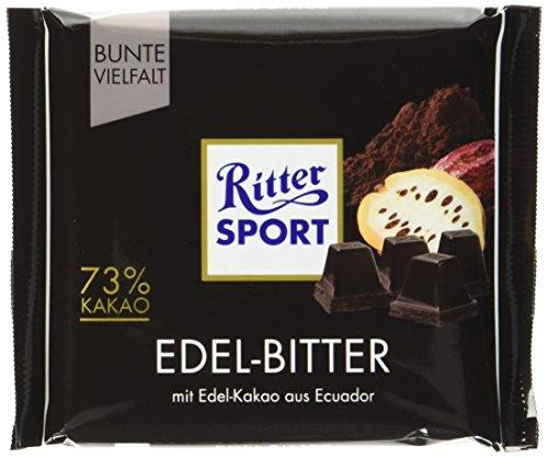 RITTER SPORT Edel-Bitter 73{a9c9cda03ef138e94fd614f59b5dbe6f1cc30cc011d950a0500e2e084b4dafb7} Kakao (9 x 100 g), Dunkle Bitterschokolade mit 70{a9c9cda03ef138e94fd614f59b5dbe6f1cc30cc011d950a0500e2e084b4dafb7} Kakao, Edel-Schokolade zartbitter, mit edlem Arriba-Kakao