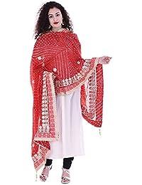 Red Gotta Patti Work Bandhani Dupatta With Gotta And Moti Border