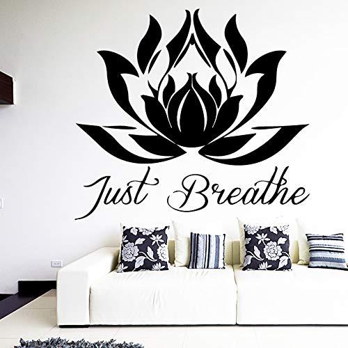 Geschnitzte Lotus Art Sticker wasserdichte Wandaufkleber für Kinderzimmer abnehmbare Dekor Wandtattoos 58cm x 52cm -