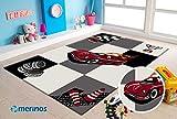 Merinos | Kinderteppich | Diamond | Kids Rennauto | Rechteckig | 100% Merilon Frisee | Schwarz & Weiß & Rot | Größe 120cm x 170cm