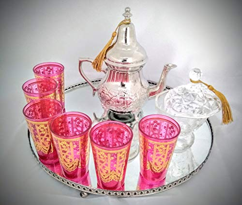 Marrakech Accessoires Decorato con Motivo Orientale Bicchiere da t/è in Stile Marocchino