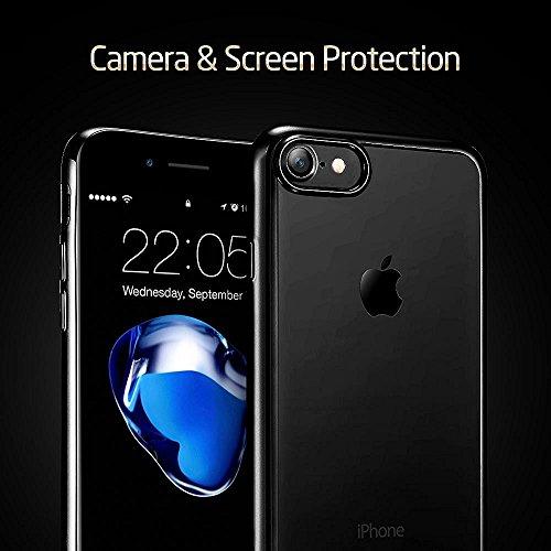 """iPhone 7 Hüllen, Durchsichtig Klar CLTPY iPhone 7 Ultradünn Flexible Überzug TPU Schale Etui, Antirutsch Full Body Cover für 4.7"""" Apple iPhone 7 + 1 x Stift - Gold D Schwarz"""