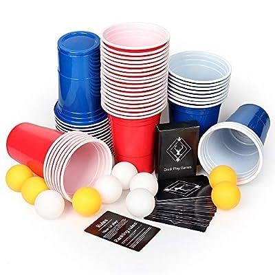 AOLUXLM Gobelets en Plastique, 50 Coupes à Bière Beer Pong avec 10 Balle de Bière Pong + 1 Set Carte de Jeu, Gobelets Jetables de 16 oz pour Jeu de Société à Boire
