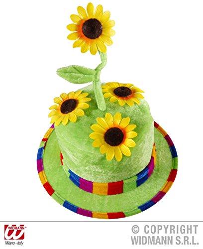 (WIDMANN wdm2636F–samtiger Kostüm-Hut mit Sonnenblumen für Erwachsene, grün, Einheitsgröße)