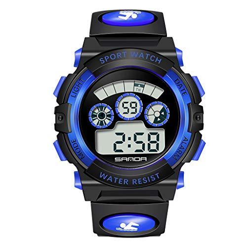 Feinny Sanda Multifunktionale Mode Student Elektronische Uhr, Partition Digitalanzeige, Mechanische Uhrwerk, Leuchtanzeige, 50m Limit wasserdichte Sportuhr (Unisex),Blau