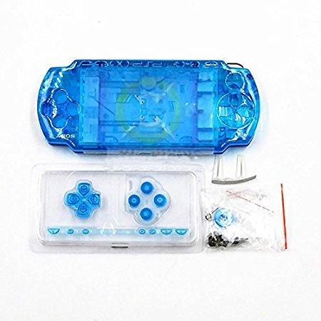 New Ersatz Sony PSP 2000Konsole Full Gehäuse Shell Cover mit Button Set, Transparent Blau. Sony Faceplate Case