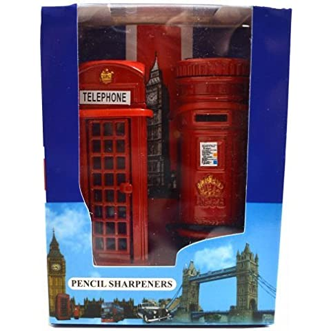 Telephone and Post Box Pencil Sharpener Set made of Die Cast Metal London Souvenir