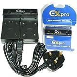 Ex-Pro® Sony NP-FH30, NP-FH50, NP-FH60, NP-FH70, NP-FH100 - Dual (Twin) Battery Fast Charge Digital Camcorder Charger for Sony DCR-SR30E, DCR-SR32E, DCR-SR33E, DCR-SR35E, DCR-SR36E, DCR-SR37E, DCR-SR40E, DCR-SR42E, DCR-SR50E, DCR-SR52E,,DCR-SR55E, DCR-SR57E, DCR-SR60E, DCR-SR62E, DCR-SR65E, DCR-SR70E, DCR-SR72E, DCR-SR75E, DCR-SR77E, DCR-SR80E, DCR-SR82E, DCR-SR90E, DCR-SR100E, DCR-SR190E, DCR-SR210E, DCR-SR290E, DCR-SR300E