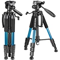 Neewer Portable 56 inches/142 centimeters Aluminum Camera Tripod with 3-Way Swivel Pan Head,Bag for DSLR Camera,DV Video Camcorder Load up to 8.8 pounds/4 kilograms Blue(SAB234)