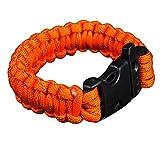 Kingnew Multifunktionale Paracord Überleben Armband Feuer Starter Schaber Kompass Whistle Fallschirm Schnalle für Outdoor Wandern Camping Notfall (Orange)
