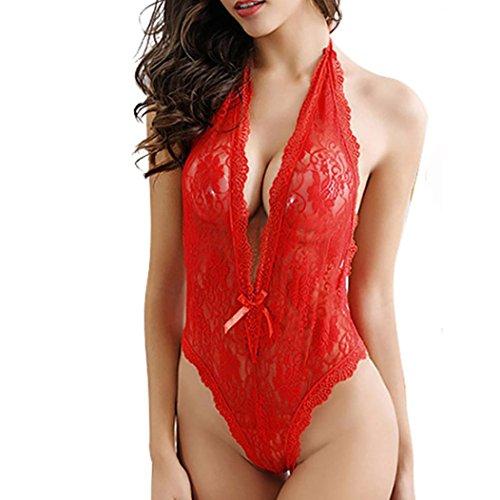 YunYoud Reizvoller Frau Große Größe Unterwäsche Perspektive Spitze Puppe Lingerie Hängender Hals Tiefes V Pyjama Einfarbig Bowknot Sleepwear (XXL, Rot)