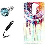 Lusee® Funda de silicona para LG L Bello D337 Suave Cascara TPU blanco Dreamcatcher