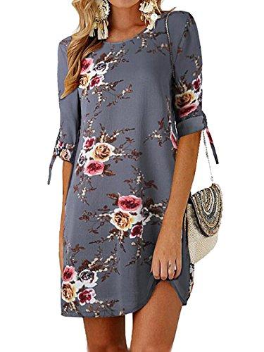 GARYOB Damen Sommer Kleid Büro Lässig Blumen Tunika Sommerkleider Minikleid mit 3/4 Ärmel(S-XXXXL)