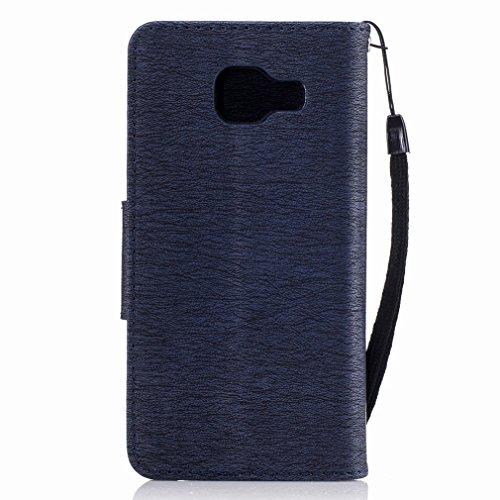 Yiizy Samsung Galaxy A3 (2016) / A310F / A310M Custodia Cover, Fiore Di Farfalla Design Sottile Flip Portafoglio PU Pelle Cuoio Copertura Shell Case Slot Schede Cavalletto Stile Libro Bumper Protettiv Blu Profondo