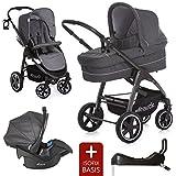 Hauck Kinderwagen Set 3in1 - Soul Plus - inkl. Babyschale & Isofix Basis / Kombikinderwagen mit großen Rädern & viel Zubehör - Beluga
