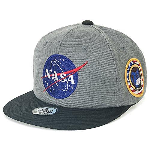 ililily NASA Meatball abgebildet im Logo Stickerei Baseball Cap Apollo 1 Flicken Trucker Cap Hut (Medium, Dark Grey Flat)