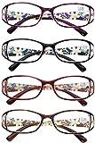 VEVESMUNDO Lesebrille Damen Frauen Blumen Katzenaugen Vintage Groß Klar Lesehilfe Sehhilfe Schwarz Lila Rot Braun Modern Brillen mit Dioptrien