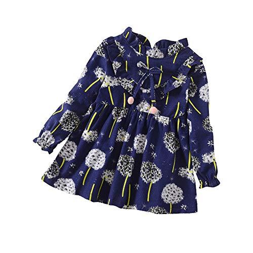 Kleinkind Baby Mädchen Kleider Langarm Blumen Drucken Prinzessin Kleid Kleidung Sommerkleid Strandkleider Größe 1-5 Jahre 4t Kleid