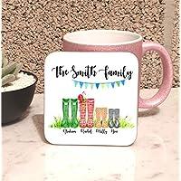 Family Wellington Boot Welly Name Personalised Coaster Mug Mat Set of 4