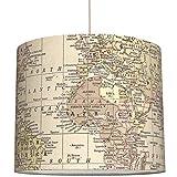anna wand Lampenschirm/Hängelampe Weltkarte Vintage/Sepia - Schirm für Lampen mit Weltkarten-Motiv - Sanftes Kinderzimmer Licht Mädchen & Junge - ø 40 x 34 cm