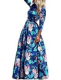 YACUN Mujeres Floral manga 3/4 de las vestida Swing Vestido de fiesta largo