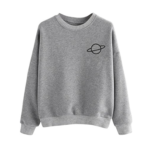 Moonuy Frauen Frühling Casual Sweatshirt Herbst Plus Size Langarm Top Mädchen Winter O-Neck Pullover Party Bluse Baumwolle Blend Tops Casual Sweatshirt Solid Color Bluse (S, Grau)