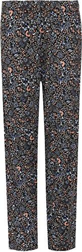 WEARALL Femmes Plus Floral Imprimer Pantalon Dames Plein Longueur Élastiquée Taille Pantalon - 42-56 Bleu Noir