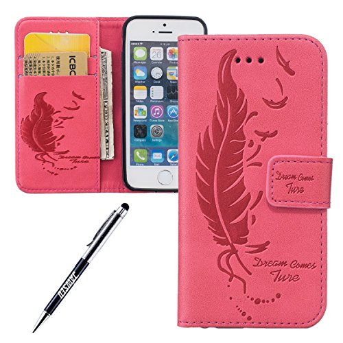 JAWSEU, Stivaletti bambini Feather,Leaf,Red iPhone SE/iPhone 5S