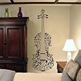 yiyiyaya Note Musicali Adesivo Violino Wall Art Camera da Letto Regali Strumento Sticker Home Decor Interior Design Ragazzi Ragazze Room Mural Viola 42x120 cm