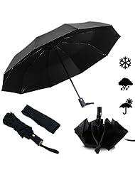Emooqi Anti-UV Automatic Umbrella - Windproof Reinforced Frame - 210T Auto Open and Close Folding Travel Outdoor Rain Umbrella for Women and Men, Black