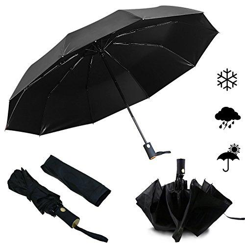 Emooqi Automatischer Regenschirm Taschenschirm, 210T Schwarze Vinyl UV-Schutz wasserabweisende winddicht Taschenschirm, Reise-Regenschirm, Outdoor-Regenschirm (schwarz)