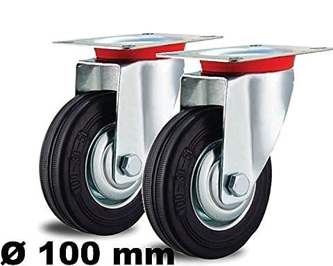 2 Lenkrollen 100mm mit Stopper Sperre Blockierung Blocker Feststeller Arretierung 100 mm Schwenkrolle