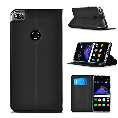 ELTD Huawei P8 LITE 2017 flip Cover, Slim flip funda carcasa case para Huawei P8 LITE 2017, Negro