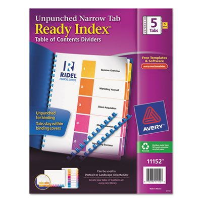 AVE11152 Avery-dennison Ready Index TOC Unpunched Dividers with Narrow Tabs,