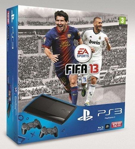Console PS3 Ultra slim 12 Go noire + Fifa 2013  (2 manettes)
