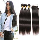 Dai Weier Meches Bresiliennes Lot 3 Avec Closure Lace Front 3 Bundles Weave Hair Straight Virgin Hair Weave Pndule 10 12 14 +10 Closure