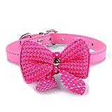 Finebo Knit Bowknot Einstellbare PU-Leder Hundewelpen Halsbänder Halskette RD Schleife für Kleines Haustier (Hot Pink)