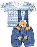 #10: Kuchipoo Baby Dungaree with Colorful T-shirt (KUC-DUN-101, Blue & White, 6 Months - 1 Years)