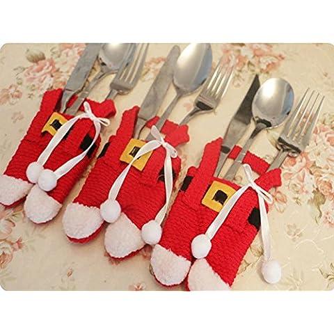Vajilla de la Navidad de Santa Bolsas - Decoración de comedor Cuchillo Tenedor Vajilla