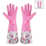 #5: HOKIPO® Reusable PVC Hand Gloves for Kitchen, Free Size, Forearm Length, 1 Pair.