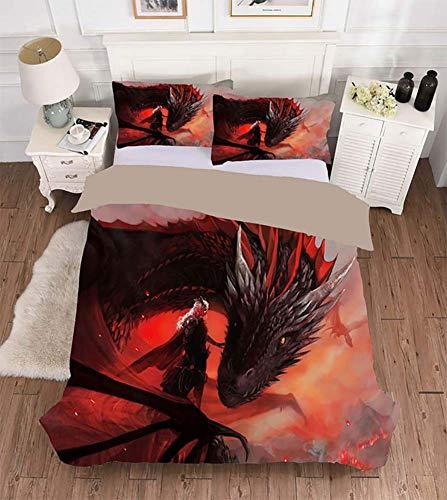 Rziioo Bettwäscheset Game of Thrones, Bettwäscheset für Teenager-Mädchen, kleine Jungen - 1 Bettwäscheset + 2 Kissenbezüge,UKDouble