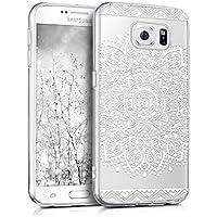 kwmobile Hülle für Samsung Galaxy S6 / S6 Duos - TPU Silikon Backcover Case Handy Schutzhülle - Cover klar Blume Design Weiß Transparent