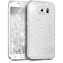 kwmobile Funda transparente para Samsung Galaxy S6 / S6 Duos con diseño IMD y marco de silicona TPU con parte trasera de plástico - funda blanda para móvil carcasa protectora bumper Diseño flor