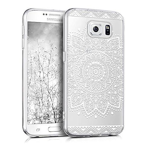 kwmobile Hülle für Samsung Galaxy S6 / S6 Duos - TPU Silikon Backcover Case Handy Schutzhülle - Cover klar Blume Design Weiß