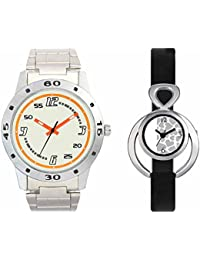 SVM VL04VT11 New Couple Combo Designer Stylish Leather & Plastic Belt Analog Watch For Men & Women