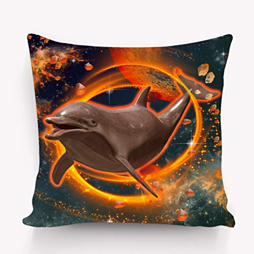 Kissenbezüge Pillow case Funny Dolphin Swimming Universe fire Ring Colored 18 * 18 inch