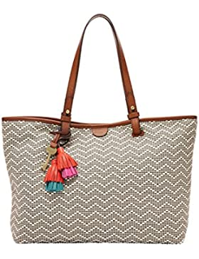 Fossil Rachel Shopper Natural Creme Schwarz Damen Handtasche Tasche Henkeltasche Schulter Taschen Damenhandtasche