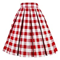 Girstunm Women's Pleated Vintage Skirt Floral Print A-line Midi Skirts with Pockets Red-White-Plaid S